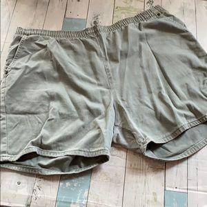 Roman's Olive Green Elastic Waist Jean Shorts